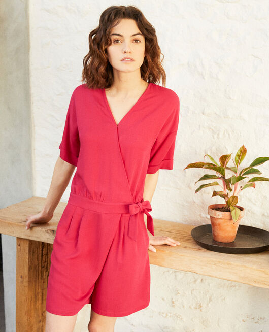 Wrap-over playsuit FUSHIA