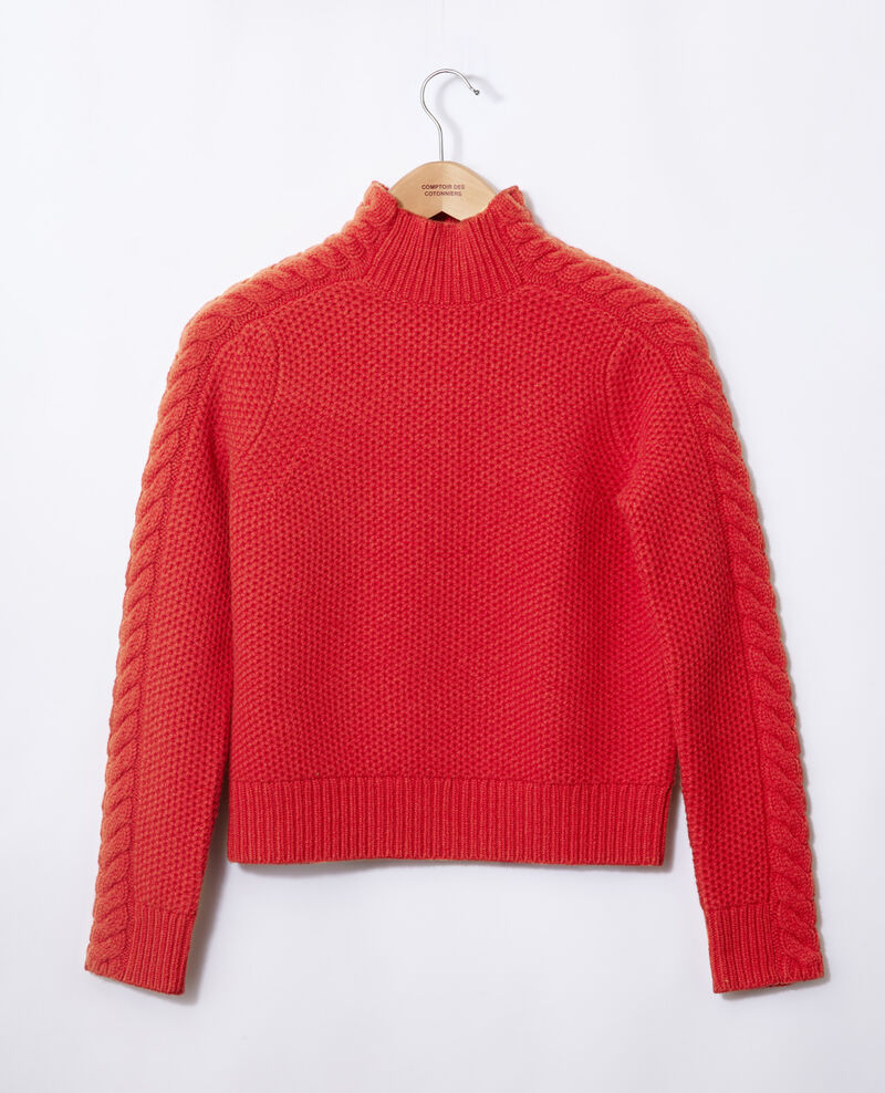 Wool jumper with braid detail Red Garouk