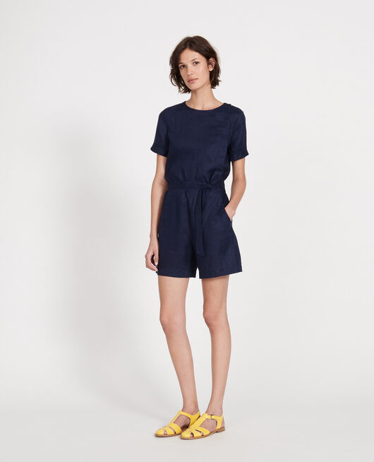 Linen playsuit MARITIME BLUE