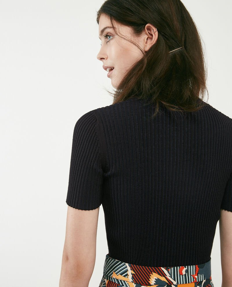 Ribbed knit t-shirt Noir Dragibus
