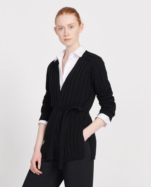 Chunky rib cardigan BLACK BEAUTY