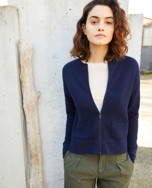 Zip-up cardigan NAVY BLAZER