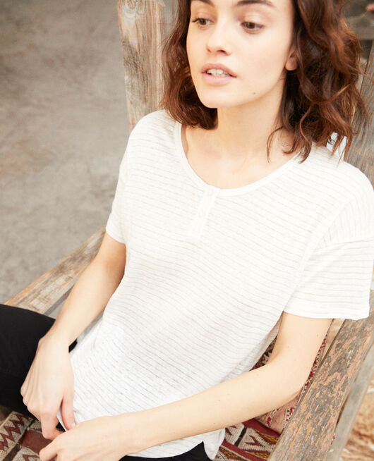 Linen-blend shiny T-shirt OFF WHITE