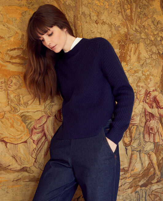 Jumper with inserts on the hem 100% Merino Wool NAVY