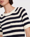 Linen and cotton jumper Stripes maritime blue buttercream Licula