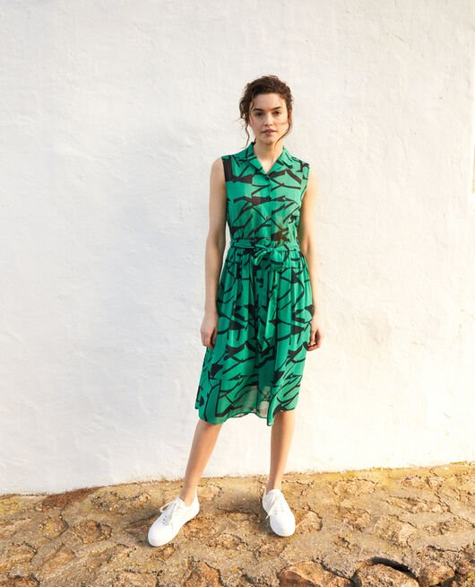 Printed dress PRIMITIVE LINES GREEN
