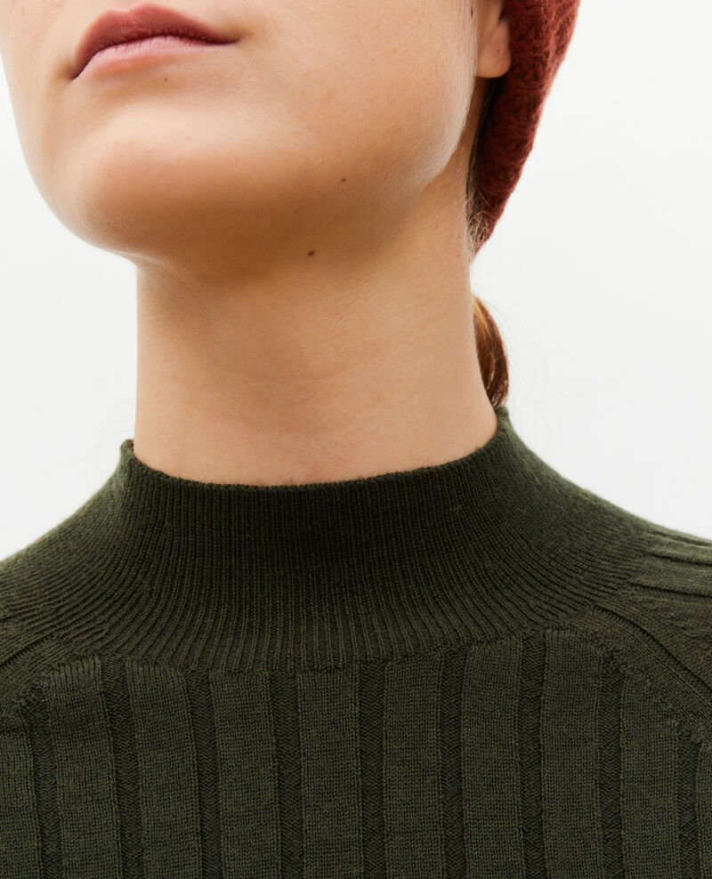 Ribbed merino wool turtleneck jumper Military green Mulie