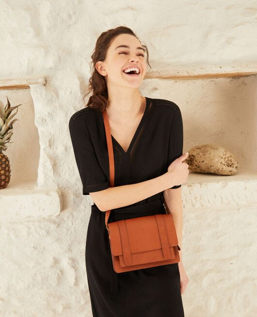Smooth leather bag, small model Marron