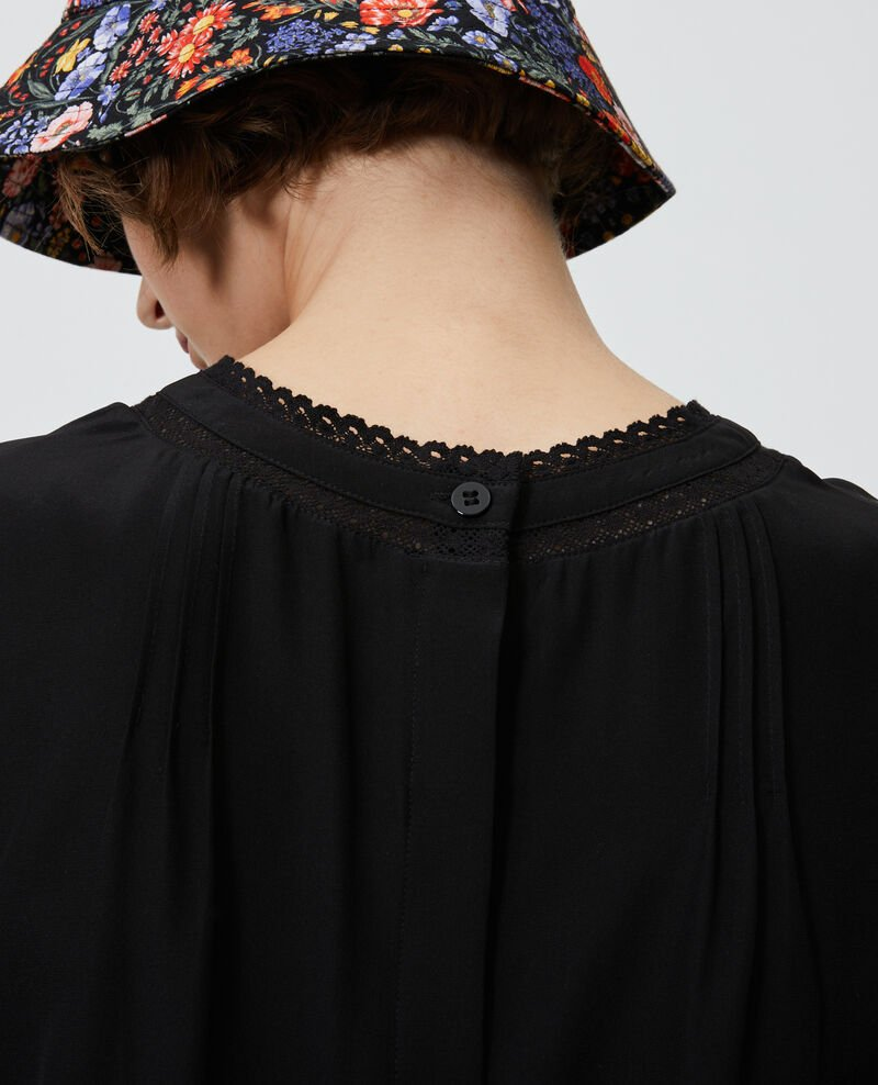 Loose silk and lace blouse Black beauty Nargut