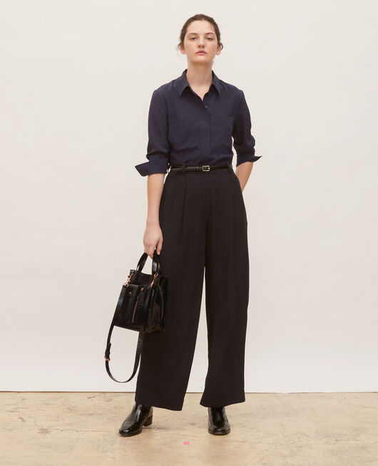 High waisted wide trousers BLACK BEAUTY