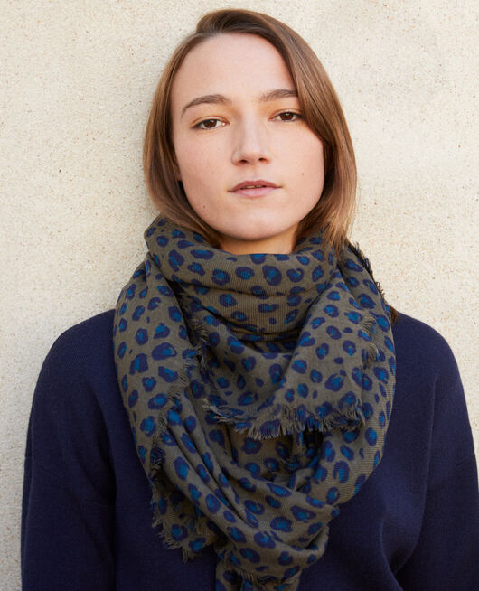 Printed wool scarf BLUE LEOPARD OLIVE NIGHT