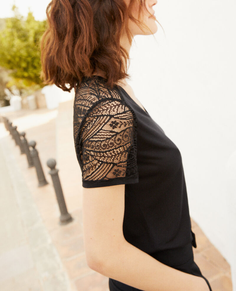 T-shirt with lace  Noir Ipommo