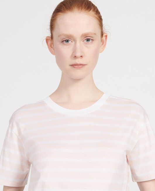 Egyptian cotton t-shirt STRIPES PRIMROSE PINK OPTICAL WHITE