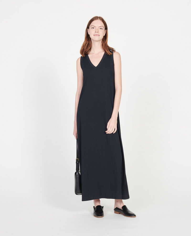 Mercerised cotton maxi dress Black beauty Larosa