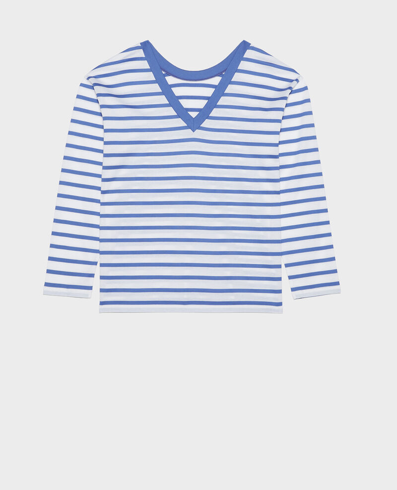 Cotton t-shirt Stripes optical white amparo blue Lana