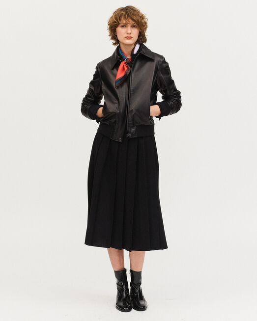 Lambskin zipped jacket. BLACK BEAUTY