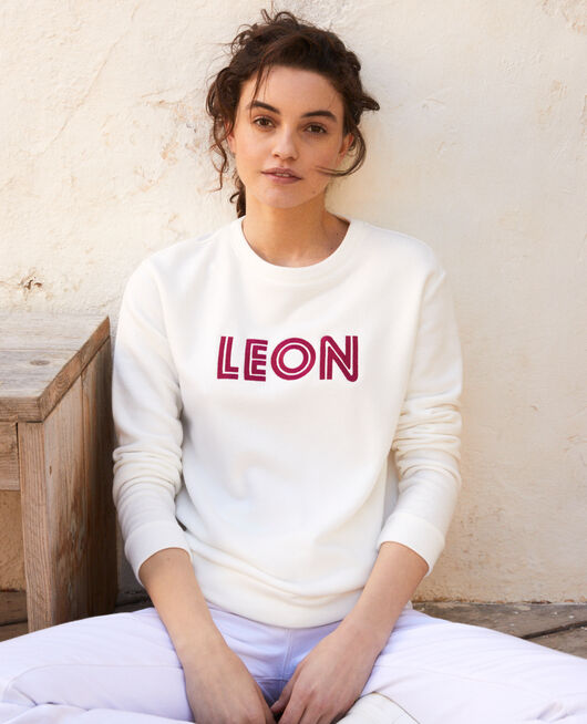 Embroidered Léon sweatshirt OW/FUSHIA