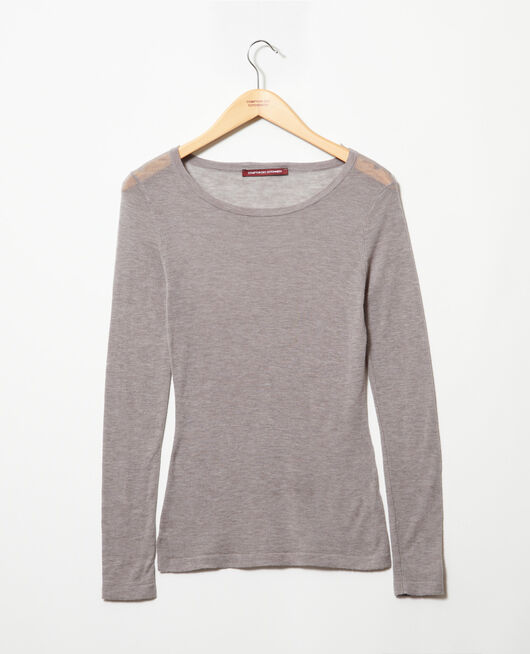 Round neck wool jumper HEATHER LIGHT GREY
