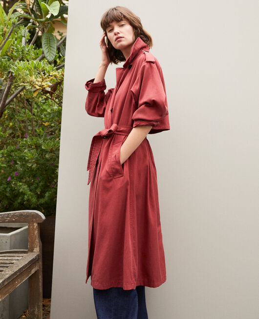 Mid-length trench coat Red