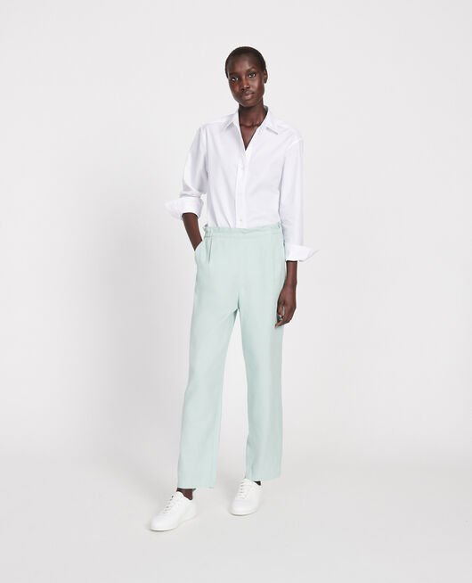 Linen and cotton trousers BLUE HAZE