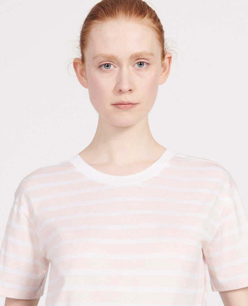 Egyptian cotton t-shirt Stripes primrose pink optical white Lisou