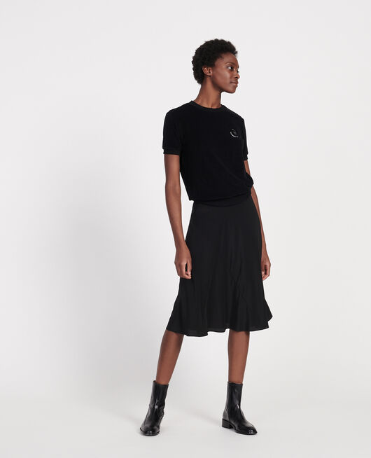 Flared silk bias-cut skirt BLACK BEAUTY
