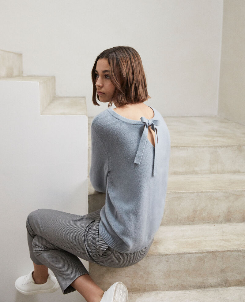 Round neck cashmere jumper Blue mirage Ixela