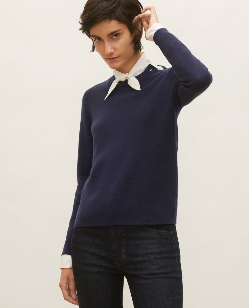 Striped wool jumper Maritime blue Logan
