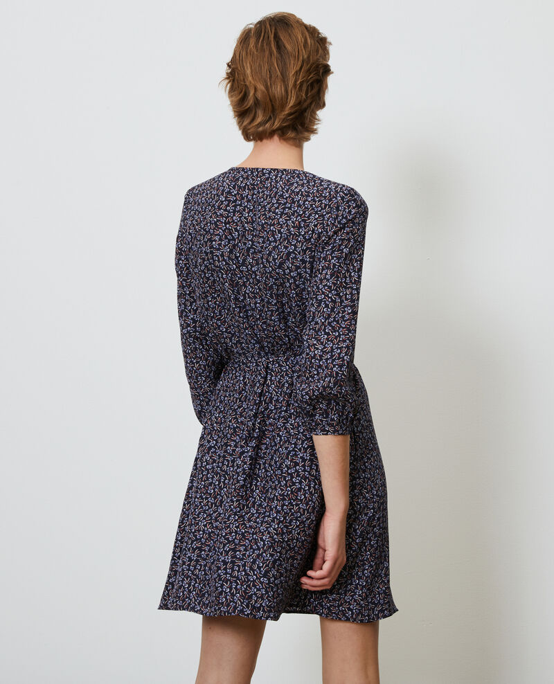 Floral silk wrap dress Clochette navy Nireclos