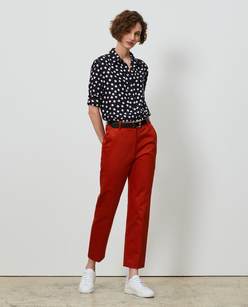 MARGUERITE tapered cotton 7/8 chinos Rooibos tea Nezel