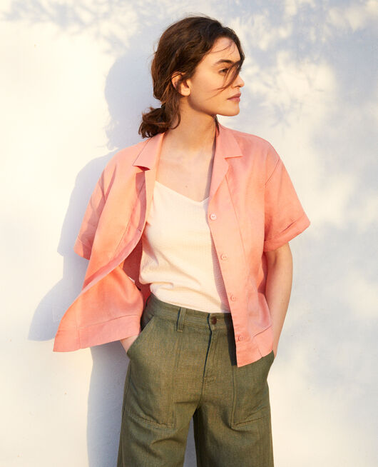 Open collar linen shirt SALMON PINK