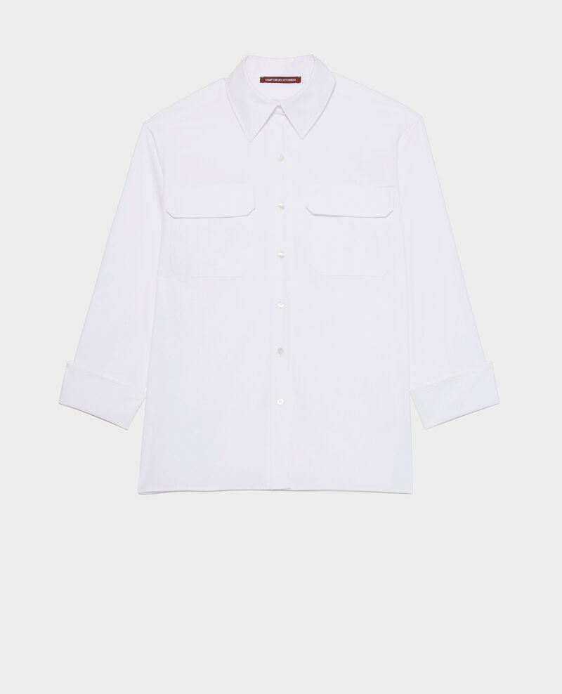 Oversize cotton men's shirt  Optical white Lauryl