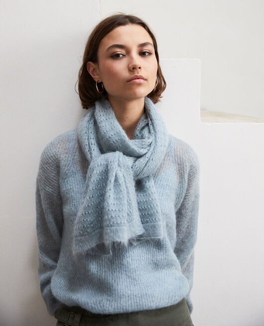 Novelty knit scarf Bleu