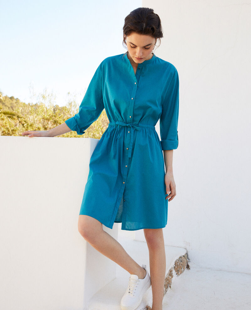 Round neck cotton dress Ocean depth Ioda