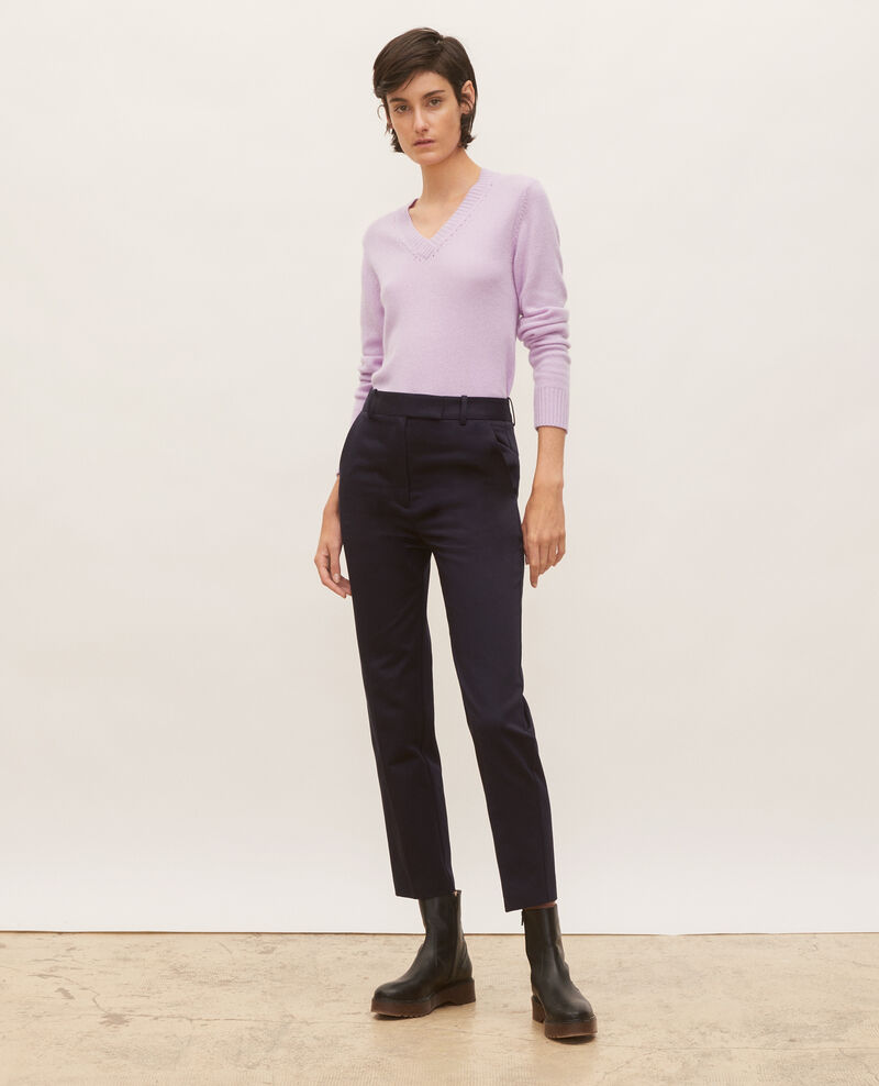 Tapered cotton 7/8 chinos MARGUERITE Night sky Mezel