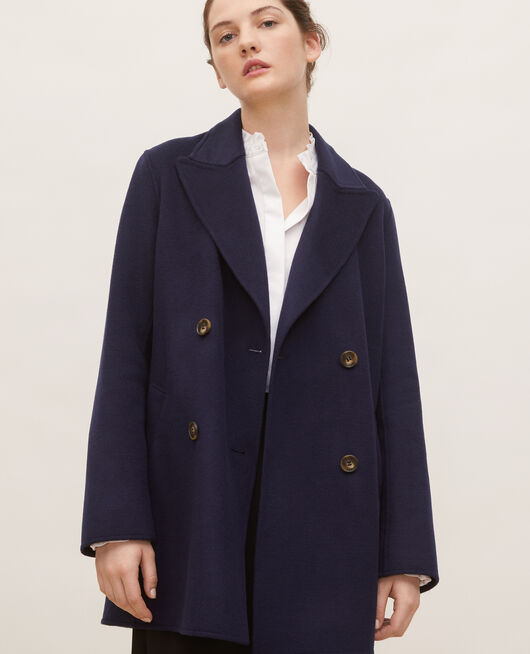 Double-sided wool pea coat MARITIME BLUE