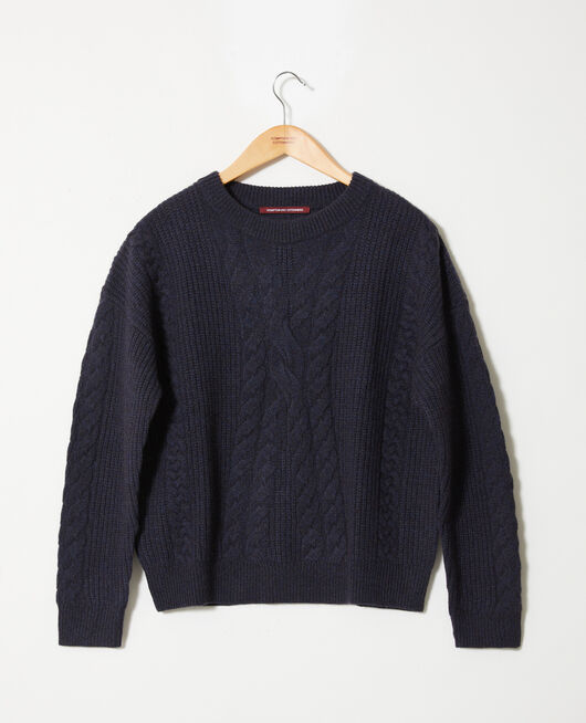 Cable-knit jumper DARK NAVY