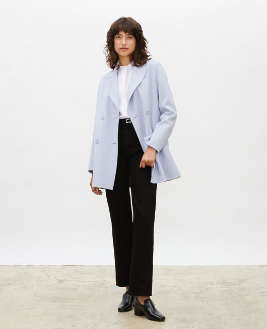 Double-sided wool pea coat HEATHER