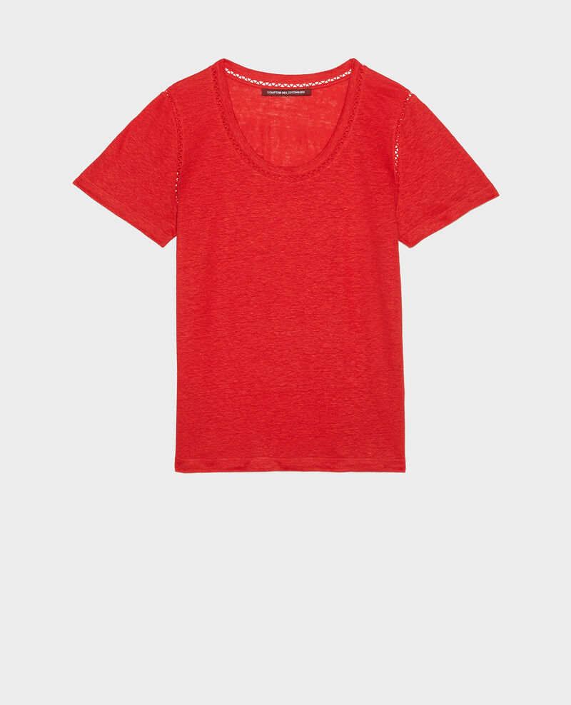 Linen T-shirt Fiery red Lye