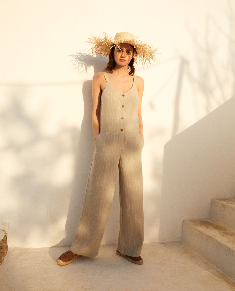 Linen jumpsuit Natural linen/off white Inac