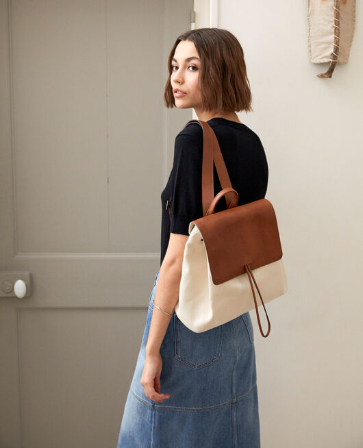 Canvas and leather backpack ECRU
