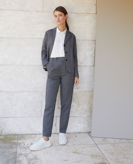 Linen and wool trousers Blue