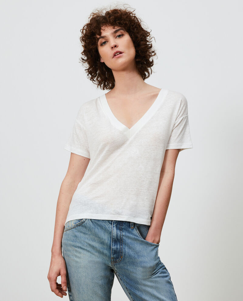 Linen V-neck t-shirt Optical white Locmelar