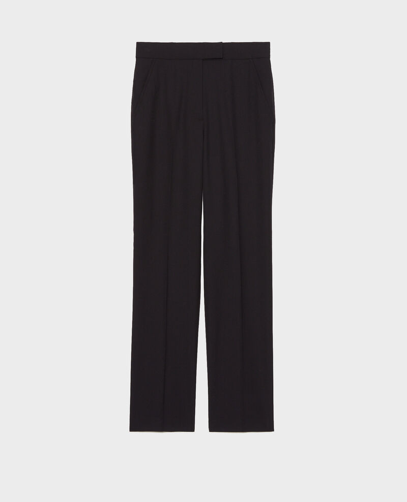 Straight wool boyfriend trousers MARCELLE Black beauty Misabelle