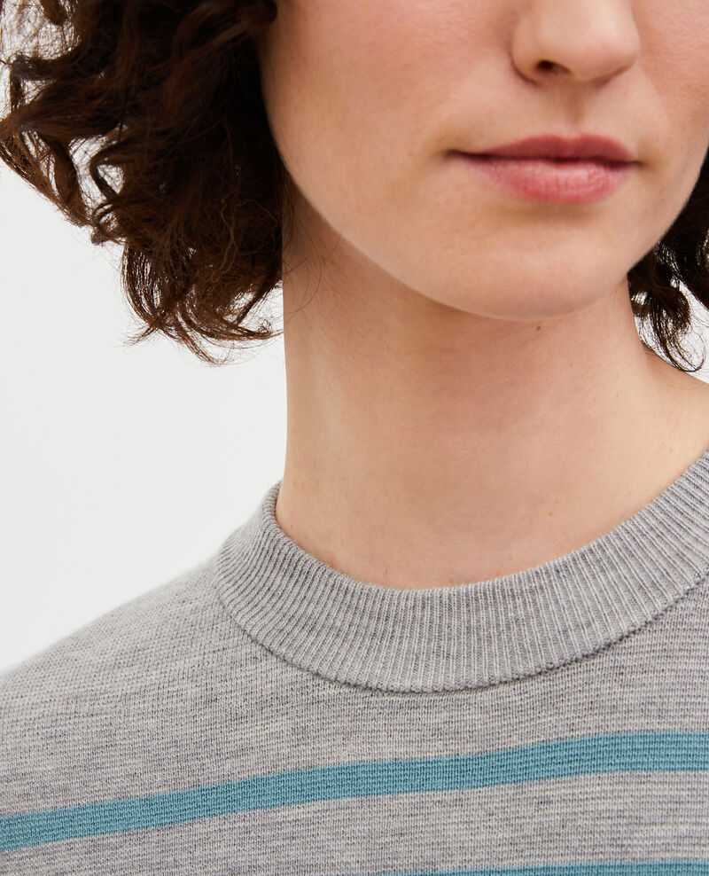 MADDY - Striped wool jumper Str_ltgry_ trs Liselle