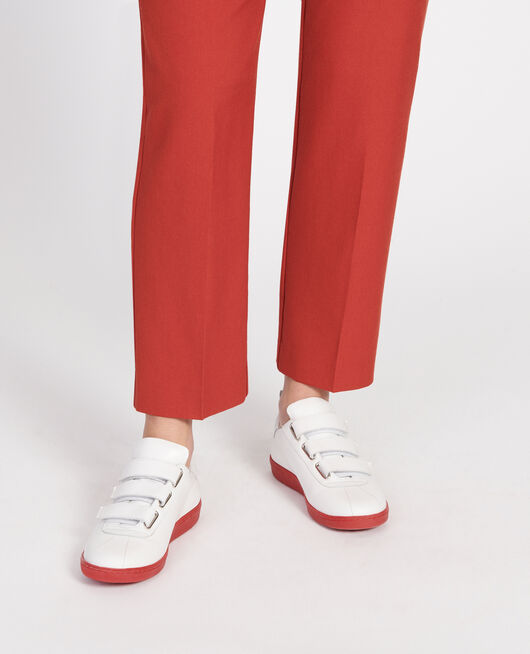 Leather rip tape sneakers WHITE FIERY RED