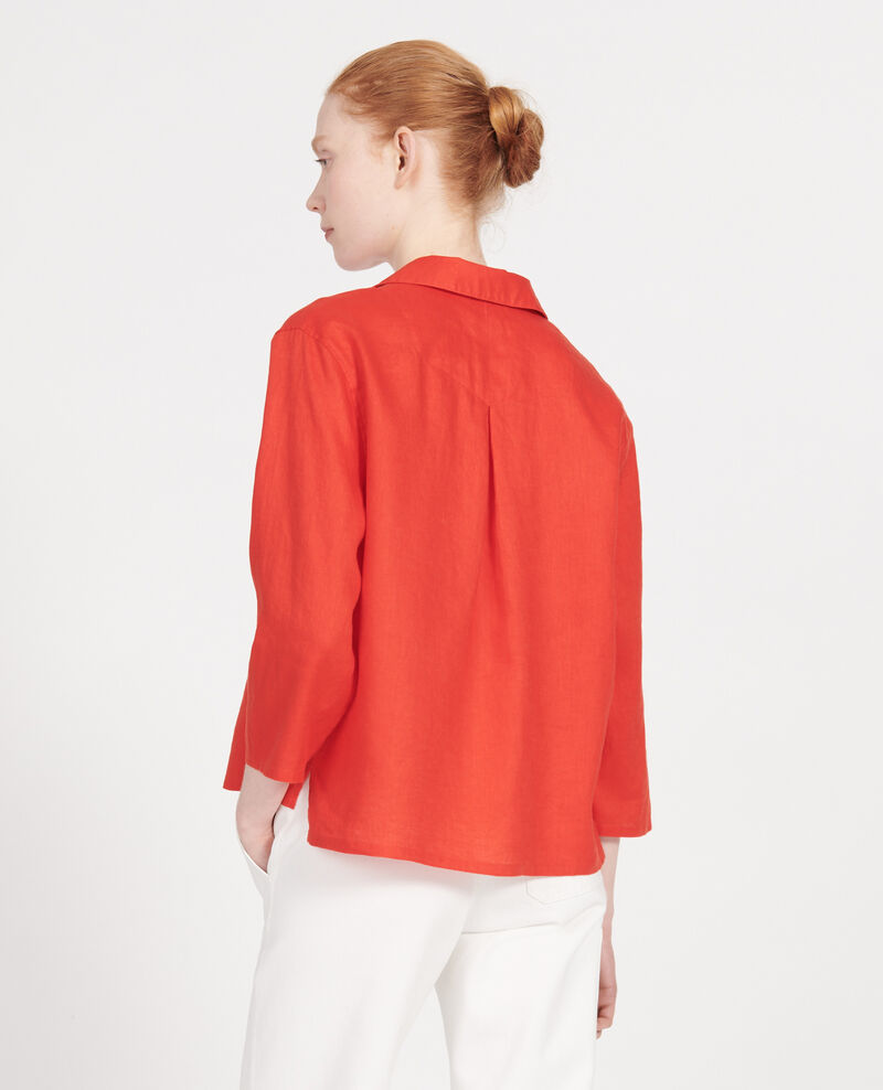 Linen blouse Fiery red Lortet