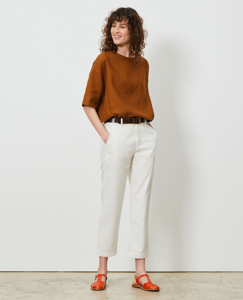 Linen and cotton 7/8 trousers Gardenia Laiguillon