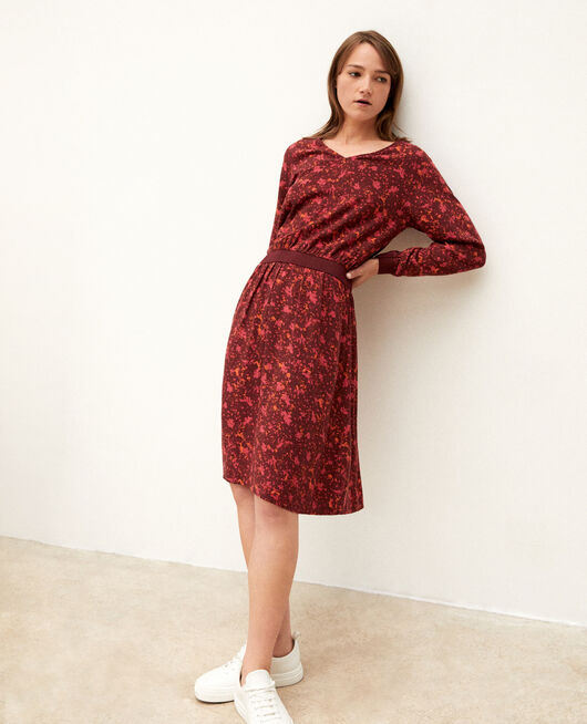 Dress with elasticated waistband Red