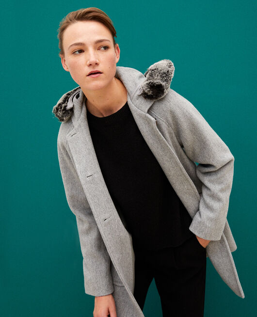 Hooded coat LIGHT HEATHER GREY